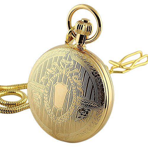 (Carrie Hughes Men's Vintage Gold Tone All Copper Steampunk Skeleton Mechanical Pocket Watch with Chain CH371 (CH371) )