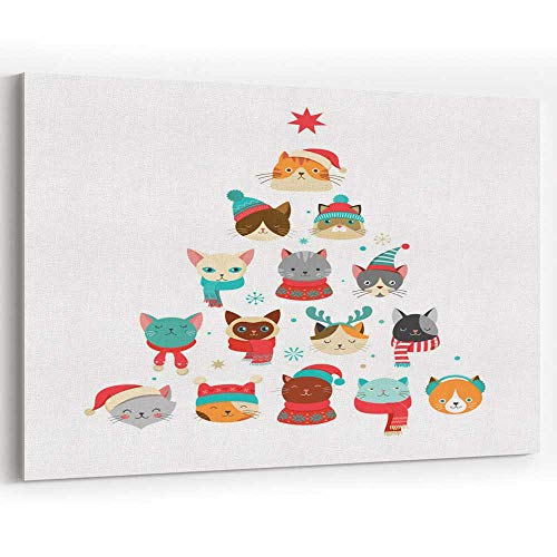 Merry Christmas Greet g Card with Cute Xmas Tree with Cats Heads Canvas Pr ts Wall Art for Decor
