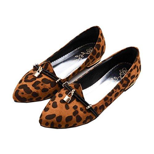 Ekstra Ballett Størrelser Kvinner Flat Pumper Leopard Khaki Mote Print Ballerinaer Sko Coolcept Komfortabel vq8PPw