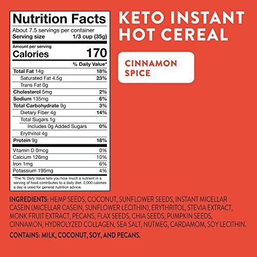 HighKey Snacks Keto Instant Hot Cereal Breakfast - Gluten & Grain Free - Perfect Ketogenic Friendly Food - Low Carb, High Protein Products - Good for Desserts, Atkins and Diabetic Diets - 9oz