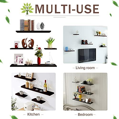 Floating Shelves, Multifunctional Set of 4 Wooden Wall Shelves, Hanging Rustic Shelves for Bathroom/Bedroom/Living Room/Kitchen/Study (Dark Walnut)