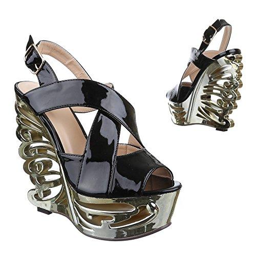 Ital-Design Damen Schuhe, QJ15345, Sandaletten Keil Plateau mit Riemchen Schwarz
