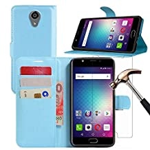 BLU LIFE ONE X2 Case + Screen Protector, Gzerma PU Flip Leather Stand View Feature, Card Slots/Cash Pouch Cover and Explosion-Proof Protective Film for BLU Life One X2 Smartphone (Blue)