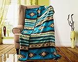 Nu Trendz Southwest Design (Navajo Print) Comfy Fleece Throw Blanket (Turq_Brown)