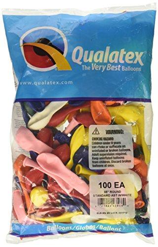 (Qualatex 43568 Standard Assortment W/ White Latex Balloons, 5