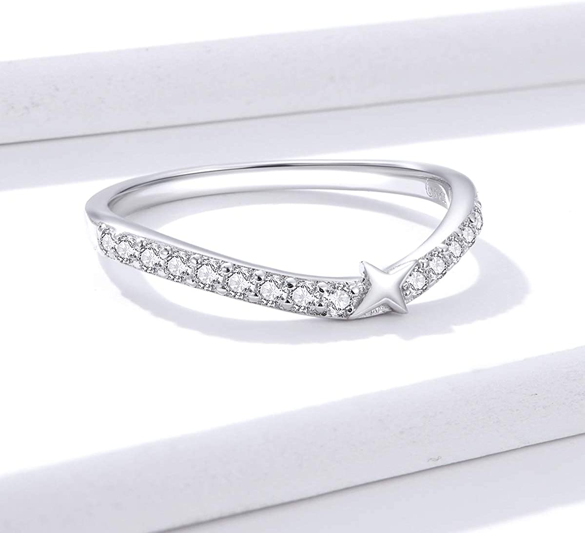 BAMOER Wishbone Star Ring for Women Sterling Silver Sparkling Cubic Zirconia Engagement Band Ring for Women Girls Size 6-8