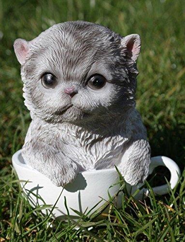 Katze in Tasse 15 cm Figur Garten Tier Gartenfigur Kater