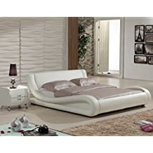 US Pride Furniture Dona Faux Leather Modern Bed, Queen, Ivory