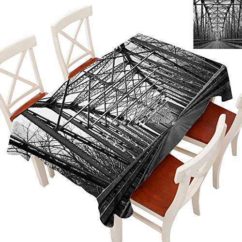 Rectangle Tablecloth Washable Polyester - Great for Buffet Table, Parties, Holiday Dinner, Wedding & More Road Through Bridge Tunnel Urban City and Modern Architecture Image Black White Grey 70
