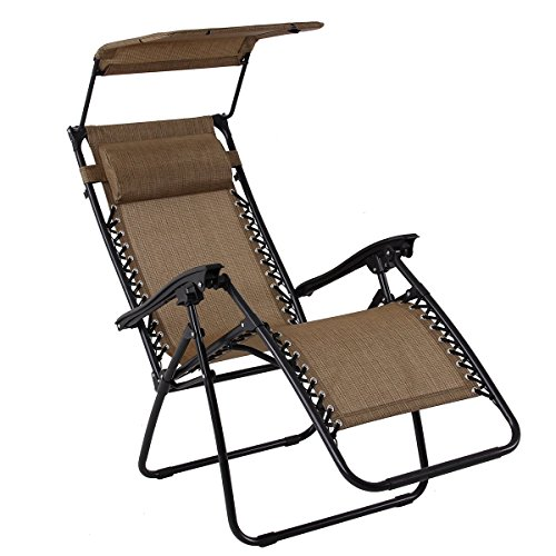 PHI VILLA Textilene Zero Gravity Lounge Chair Patio with Canopy Folding Adjustable Reclining Chair, Brown For Sale
