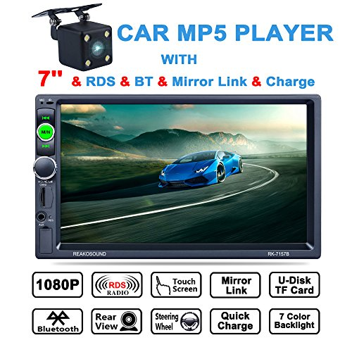 LSLYA (TM)  7inch HD Car Stereo bluetooth MP5 player TFT touch screen FM AM RDS Radio back car video USB / TF Aux Input Color screen +Car Rear View Camera (Player Muti Cd)