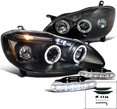 for 2003-2008 Toyota Corolla Halo LED Projector Headlights Chrome SpecD Tuning