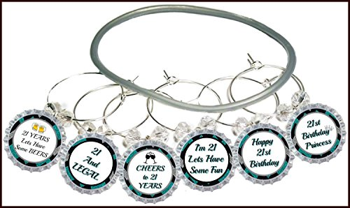 21st Birthday Wine Glass Charms - 21st Birthday Party Supplies & Decorations - Glass Identifier Tags - 21st Birthday Glass Markers - 8 Wine Charms/pack
