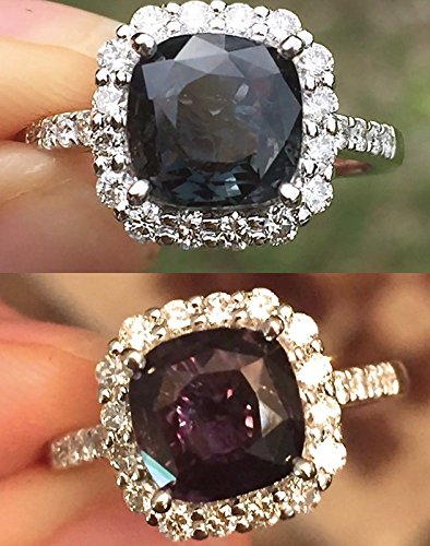 Sapphire Natural Green (Natural Color Change Sapphire Blue Green to Purple and Diamonds Cocktail / Engagement Halo Ring 3.92 cttw Alexandrite like colors 14K White Size 7)