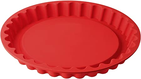 Comprar Dr. Oetker Flexxibel Hornear Resistente al ácido de Frutas, Redondo Platinum Antiadherente, Rojo resiste-40ºC a 230ºC, Apto Lavavajillas, Ø28x3,5cm, 1ud. Molde Tarta Rizado, Silicona, 28 cm