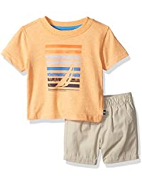 Nautica Baby Boys' Graphic Tee and Pull on Short Set
