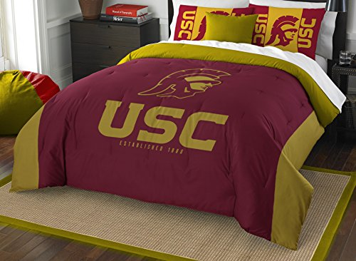 Football Ncaa Pillow (The Northwest Company Officially Licensed NCAA USC Trojans Modern Take Full/Queen Comforter and 2 Sham Set)