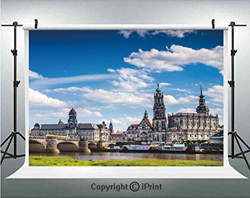 Cityscape Photography Backdrops Ancient Town Dresden Old German Architecture Historical European Scenery Image,Birthday Party Background Customized Microfiber Photo Studio Props,10x6.5ft,Grey Blue