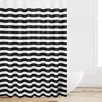 Amazoncom Interdesign Zeno Waterproof Shower Curtain Black and