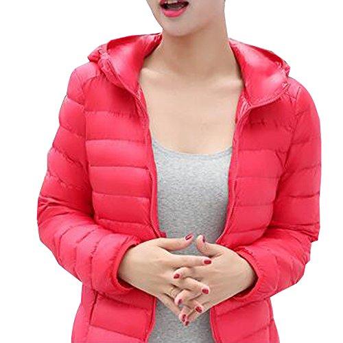 BOZEVON Women's Hooded Packable Ultra Lightweight Short Down Jacket Coat Red