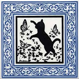 product image for CAT Tile - CAT Wall Plaque - CAT TRIVETS with Blue Victorian Border