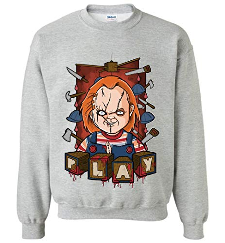 TSHIRTAMAZING Chucky Halloween Sweatshirt Adult and Youth Size Sports Grey ()