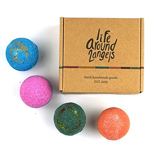 LifeAround2Angels Bath Bombs Gift Set 4 USA made Fizzies, Shea & Coco Butter Dry Skin Moisturize, Spa Kit add to Bubble Bath. Handmade Birthday Gift For Her, women gift sets, Fathers day gifts by LifeAround2Angels