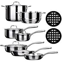 Duxtop SSC-14PC 14 Piece Whole-Clad Tri-Ply Induction Cookware Set, Stainless Steel