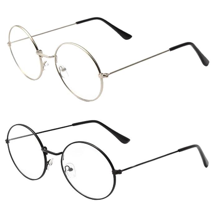 Pianura Occhiali da Vista Metallo rotonda Unisex Vintage Retro Occhiali Montature