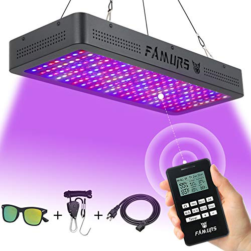 FAMURS 2000W LED Grow Light, Remote Control-Series Grow Lamp with Timer/Thermometer Humidity Monitor and Adjustable Rope,Full Spectrum Plant Light for Indoor Plants Seeding Veg and Flower