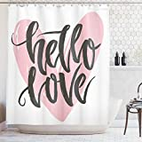 Extra Long Pink Shower Curtain Ambesonne Nautical Decor Collection, Lettering Poster with a Phrase Hello Love over Heart Shape Art Image, Polyester Fabric Bathroom Shower Curtain, 84 Inches Extra Long, Pink Grey White
