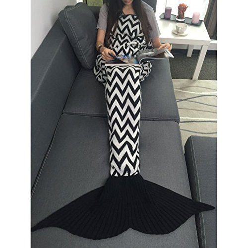 [TiaoBug Adults Handcrafted Crochet Knitted Mermaid Tail Sofa Blanket Sleeping Bag for Children Black&White One] (Black And White Mermaid Costume)