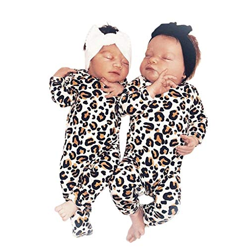 Putars Newborn Baby Infant Baby Girl Boy Leopard Print Clothes Romper Jumpsuit]()