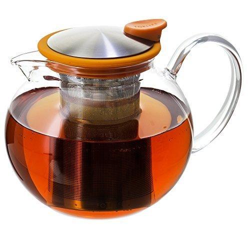 FORLIFE Bola Glass Teapot with Basket Infuser, 38 oz., Orange by FORLIFE