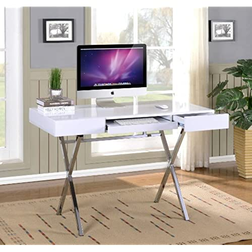 Amazing Kings Brand Furniture Contemporary Style Home U0026 Office Desk, White/Chrome
