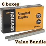 Value Pack of 6 Stanley Bostitch Premium Standard Staples, 1/4 Inch Silver, 5,000 per box (SBS191/4CP)