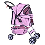 Cheap BestPet 4 Wheels Pet Stroller Cat Dog Cage Stroller Travel Folding Carrier 04T