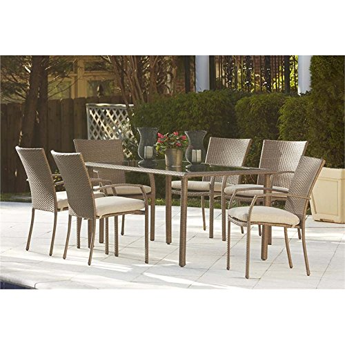 Cosco Outdoor 7 Piece Lakewood Ranch Steel Woven Wicker Patio Dining Set with Cushions, (Lakewood Ranch)