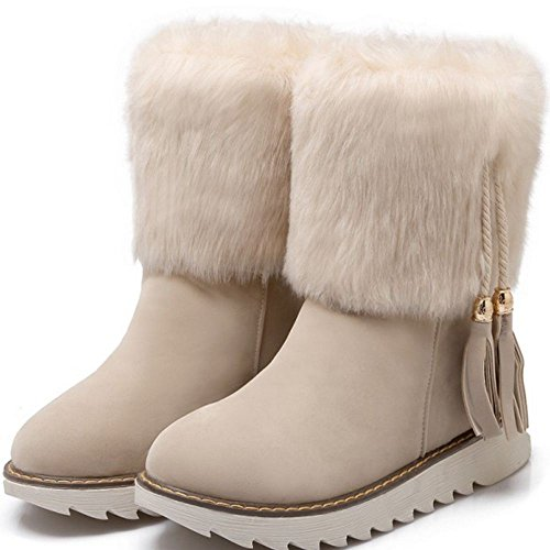 COOLCEPT Women Fashion Flat Booties Shoes Warm Faux Fur Ankle High Snow Boots Beige PNKuF