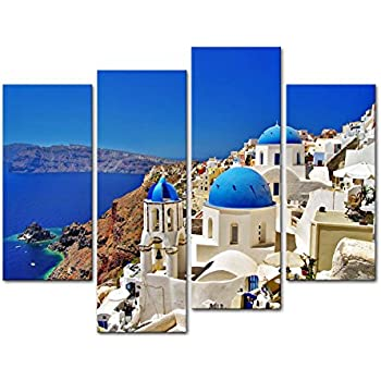 Canvas Print Wall Art Painting For Home Decor,Oia Town On Santorini Island, Greece. Traditional And Famous White Houses And Churches With Blue Domes Over The Caldera, Aegean Sea 4 Piece Panel Paintings Modern Giclee Stretched And Framed Artwork The Picture For Living Room Decoration,Landscape Pictures Photo Prints On Canvas