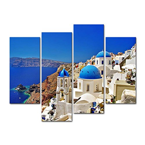Canvas Print Wall Art Painting For Home Decor,Oia Town On Santorini Island, Greece. Traditional And Famous White Houses And Churches With Blue Domes Over The Caldera, Aegean Sea 4 Piece Panel Paintings Modern Giclee Stretched And Framed Artwork The Picture For Living Room Decoration,Landscape Pictures Photo Prints On Canvas (Mural Island Wall Photo)