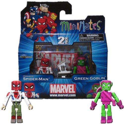 Marvel Minimates Series 41 Mini Figure 2Pack Unmasked SpiderMan Green -