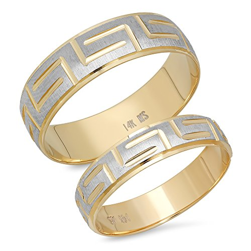 - 14K Solid White and Yellow Two Tone Gold His & Her's Matching Greek Key Design Wedding Band Ring Set (Choose a Size)