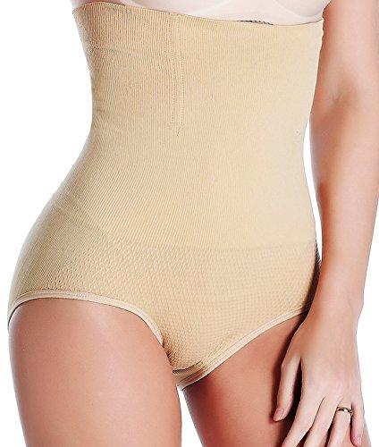 Women Waist Trainer Tummy Control Panties Body Shaper High Waisted Shapewear Briefs Butt Lifter Slimming Corset Seamless (Beige, M/L)