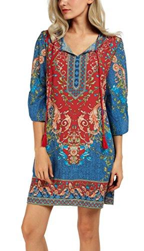 women-bohemian-neck-tie-vintage-printed-ethnic-style-summer-shift-dress-large-pattern-2