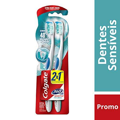 Escova Dental Colgate 360º Sensitive Pró Alívio 2unid Promo Leve 2 Pague 1