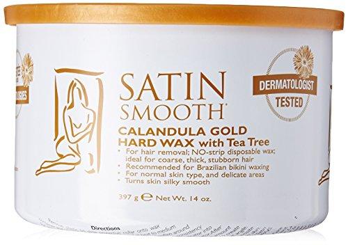 Hard Gold Wax (Satin Smooth Calendula Gold Hard Wax with Tea Tree Oil, 14 Ounce)