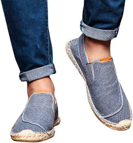 Men/'s Casual Canvas Shoes Boat Peas Denim Loafers Lazy Slip on Espadrilles Comfy