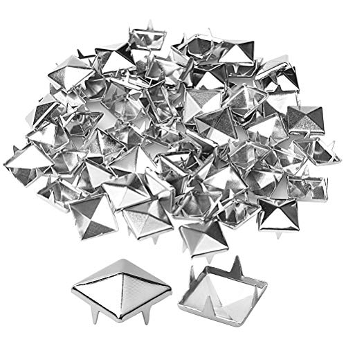 Wode Shop 200Pcs 10mm Pyramid Studs, Silver Square Stud Rivet 4 Prongs Square DIY Spike Punk Spikes -