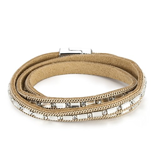 Sparkly Bracelet Gift for Her ,Simply leather Bangle, Sparkly crystal Bracelet (Light Brown)